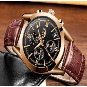 LIGE Watch Men Sport Quartz Fashion Leather Clock